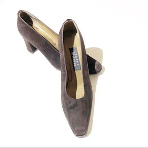 STUART WEITZMAN brown suede square toe pumps SZ 8